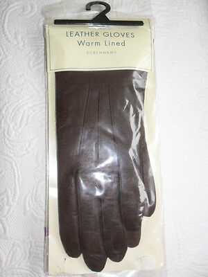 BN Womens Dark Brown Leather Gloves, Warm Lined, Large, Debenhams