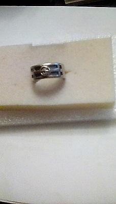 925 sterling silver wide band decorative ring size P 1/2 - 7g