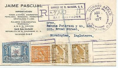 El Salvador 1937 Typed Cover To England Various Stamps Ref 436