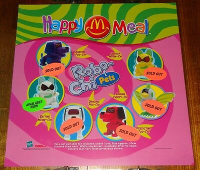 Mcdonalds In Store Promotional Translite Happy Meal Sign Robo-Chi Pets