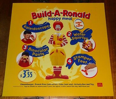 Mcdonalds In Store Promotional Translite Happy Meal Sign Disney Ronald Mcdonald