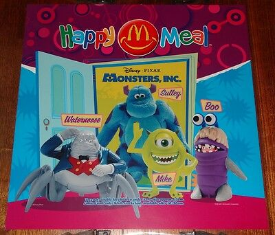 Mcdonalds In Store Promotional Translite Happy Meal Sign Disney Monsters Inc