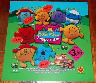 Mcdonalds In Store Promotional Translite Happy Meal Sign Mr Men & Little Miss