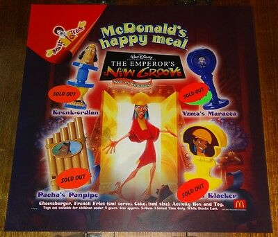 Mcdonalds In Store Promotional Translite Happy Meal Sign Emerors New Groove