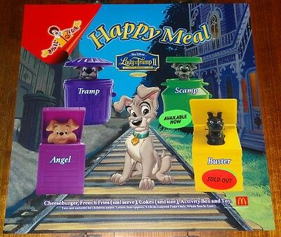 Mcdonalds In Store Promotional Translite Happy Meal Sign Disney Lady & The Tramp