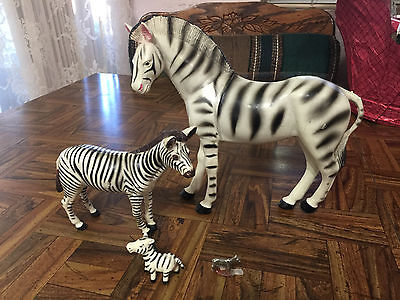 """Vintage Zebra Figurine Lot of 4 pieces Large Imperial 8"""" X 7.25"""" + Small Pewter"""