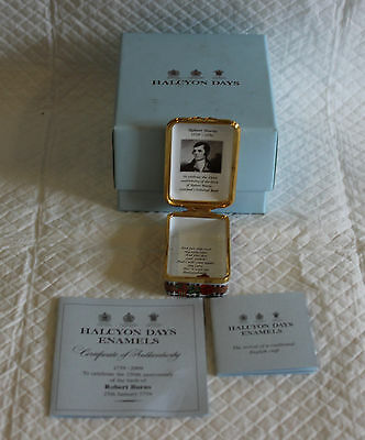Halcyon Days Enamel Box - 250th Anniversary of Robert Burns Limited 23 of 150