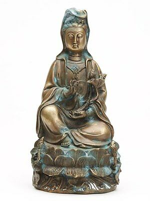 Chinese Bronze Seated Guanyin Figure