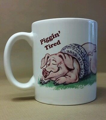 Piggin' Tired Collectable Novelty Mug David Corbridge Pig Road Hog Artwork