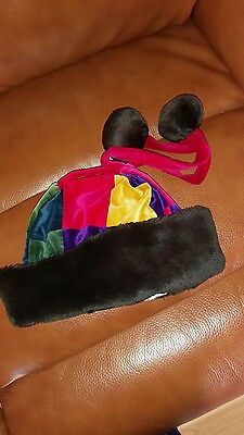 laura ashley mother and child girls brown red yellow faux fur jester hat