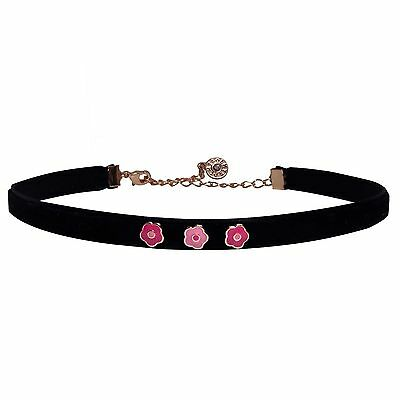 Girls 14k Gold  Black Plated Choker Necklace In Pink Flowers Enamel 10 Inches