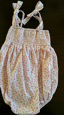 Vintage Baby Girl Smocked Floral Tie Sunsuit Romper 9 months~Busy Bees