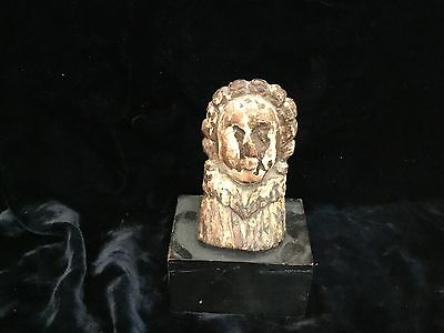 """Antique Spanish colonial wood carved santos bust 18thC or earlier 4"""" + base"""