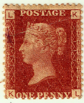 PENNY REDS 1d Stamp SG43 GB QUEEN VICTORIA Plate 117 KL LIGHT CANCEL