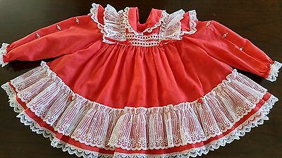Vintage Baby Toddler Girl Red Laces Rose Dress12-24 Months