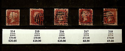 5 x 1d PENNY RED Stamps Scott 33 SG43 GB QUEEN VICTORIA Plates 214 to 218