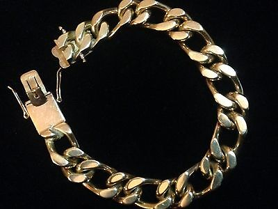 Men's heavy 9CT Solid Gold Curb Bracelet. 89 Grams. REDUCED £1450 WAS £1550