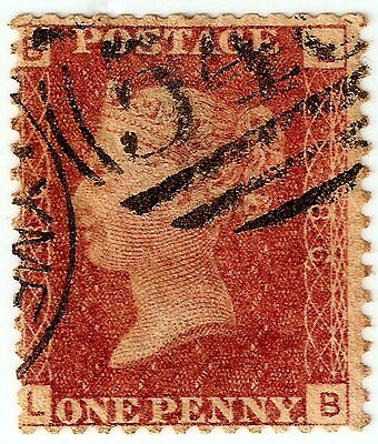 PENNY REDS 1d Stamp SG43 GB QUEEN VICTORIA Plate 86 LB PART CANCEL