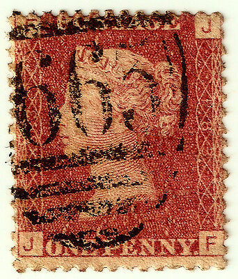 PENNY REDS 1d Stamp SG43 GB QUEEN VICTORIA Plate 183 JF RUTHIN 665 CANCEL