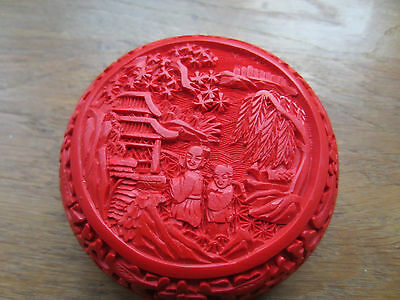 Vintage Boxed Round Chinese Cinnabar Carved Box