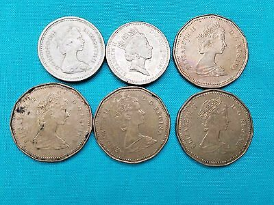 Lot of Vintage Great Britain Pounds & Canada Dollar Coins, Foreign Currency