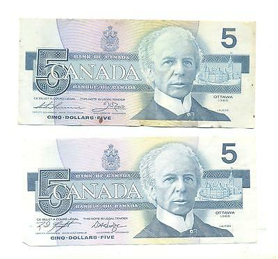 Bank Of Canada Banknote 2X.5.dollars.ottawa.1986.ans8601160/fpe2843576