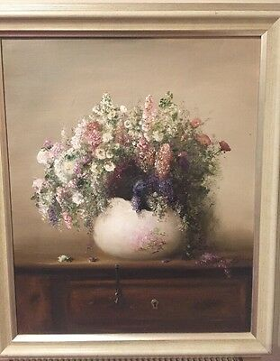 Original Large Floral Still Life Oil Painting on board by Judith Levin  Framed