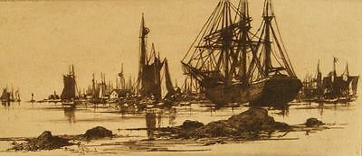 Stephen Parrish signed sepia maritime etching; 1881