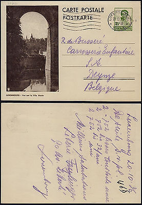 Luxembourg 1936 - Illustrated stationery to Deynze Belgium