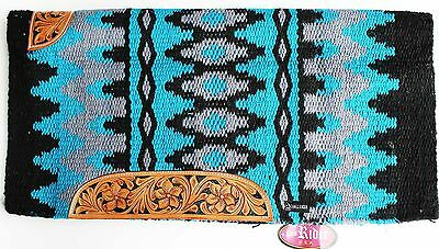 34x36 Horse Wool Western Show Trail SADDLE BLANKET Rodeo Pad Rug Blue 36326C