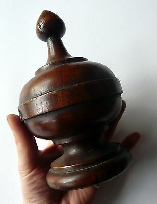 Antique Victorian turned wood/mahogany finial- very large. Beautiful piece.