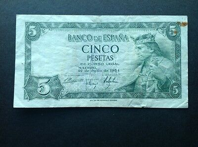 Spain banknote for 5 Pesetas dated 1954.