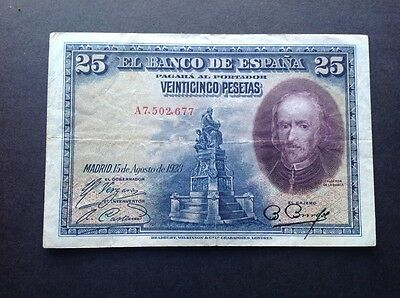 Spain banknote for 25 Pesetas dated 1925.