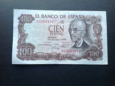 Spain banknote for 100 Pesetas dated 1970.