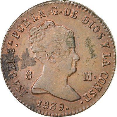 [#15107] Spain, Isabel II, 8 Maravedis, 1839, Segovia, AU(55-58), Copper