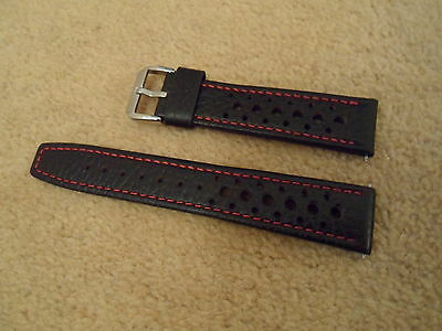 20Mm Brown Leather Red Stitching Perforated Rally Racing Watch Strap For Heuer