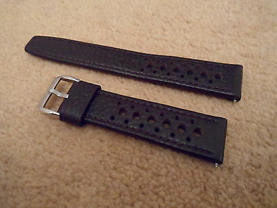 20Mm Brown Leather Brown Stitching Perforated Rally Racing Watch Strap For Heuer
