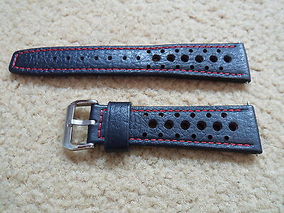22mm black leather retro rally sport watch strap perforated for Heuer red stitch