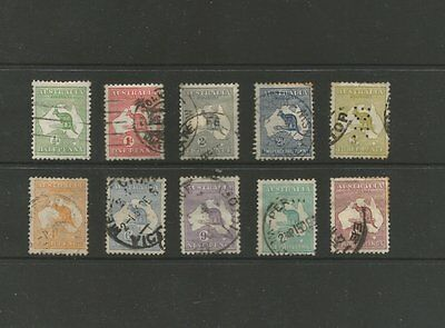 Australia 1913-15 Used Kangeroo Stamps On Stock Card (As4)