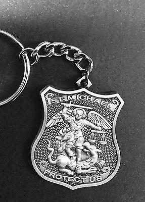 PEWTER SAINT MICHAEL PATRON SAINT OF POLICE OFFICER's KEY CHAIN / KEYCHAIN