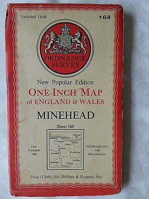 Old Ordnance Survey cloth map of Minehead dated 1953