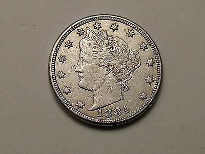 Usa Liberty Head  V Nickel 1884  /  Five Cent Coin , Filler