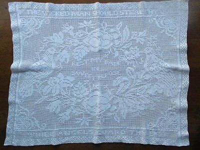 Beautiful Vintage Hand Worked White Crochet Lace Turtle Dove Cot Cover