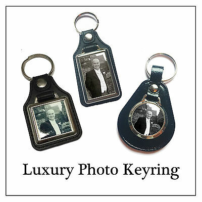 Memory Photo Key Ring, Luxury Leather & Metal Have Any Photo Printed - 3 Styles