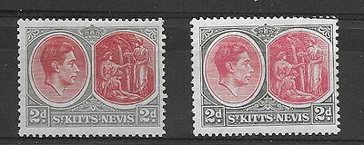 St. Kitts Nevis. KGVI. 1938/50. 2d P13 x 12 both SG71, 71a. mm. (2)