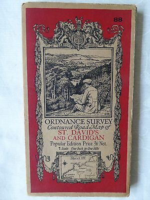 Old OS cloth map of St David's & Cardigan dated 1923
