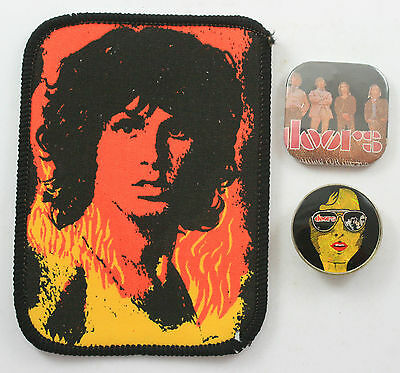 THE DOORS Vintage Badges & Sew-on Patch 2 x Pin Badges and 1 x Printed Patch