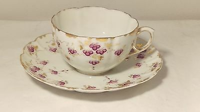Antique Handpainted Violets With Gold Cup and Saucer Set - Very Fine - Limoges??