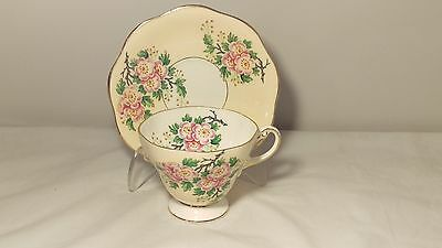 Heathcote England 3019 Beige with Florals Cup and Saucer Set