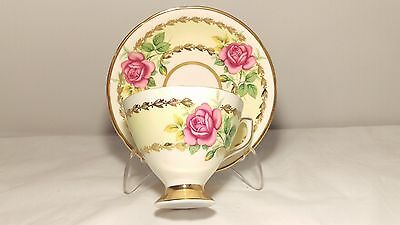 Clare Bone China 1454 Pink Cabbage Rose Cup and Saucer Set
